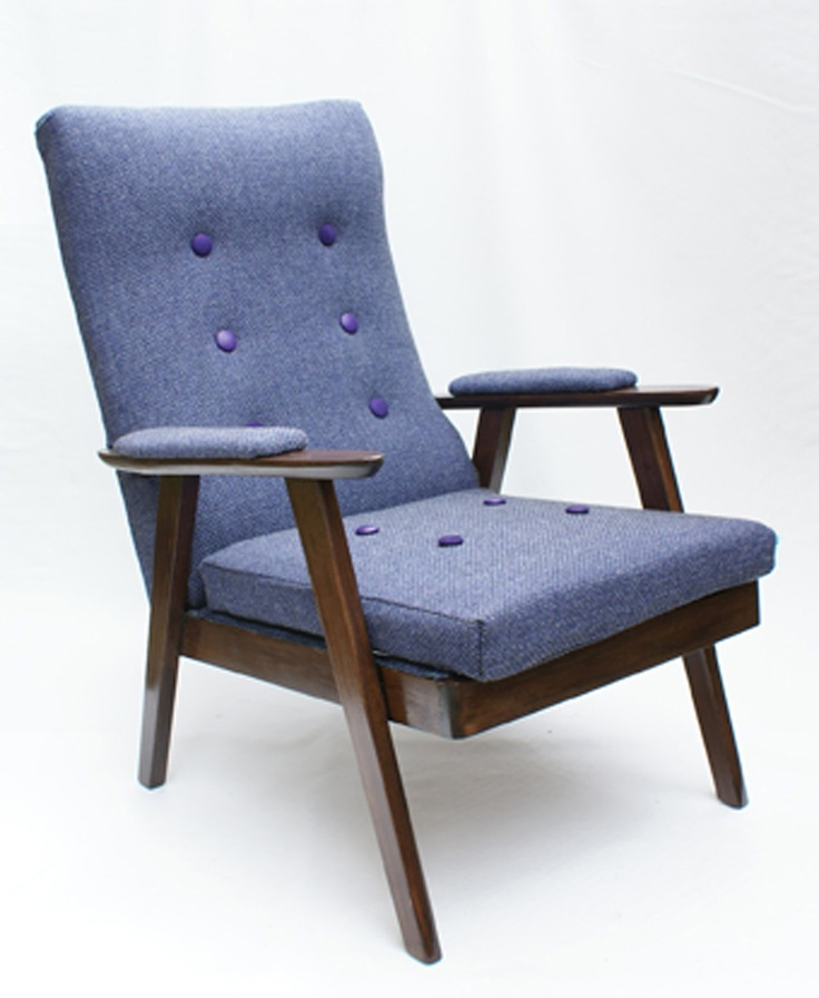 Stylish vintage armchair reupholstered in purple tweed with suede and leather button details.