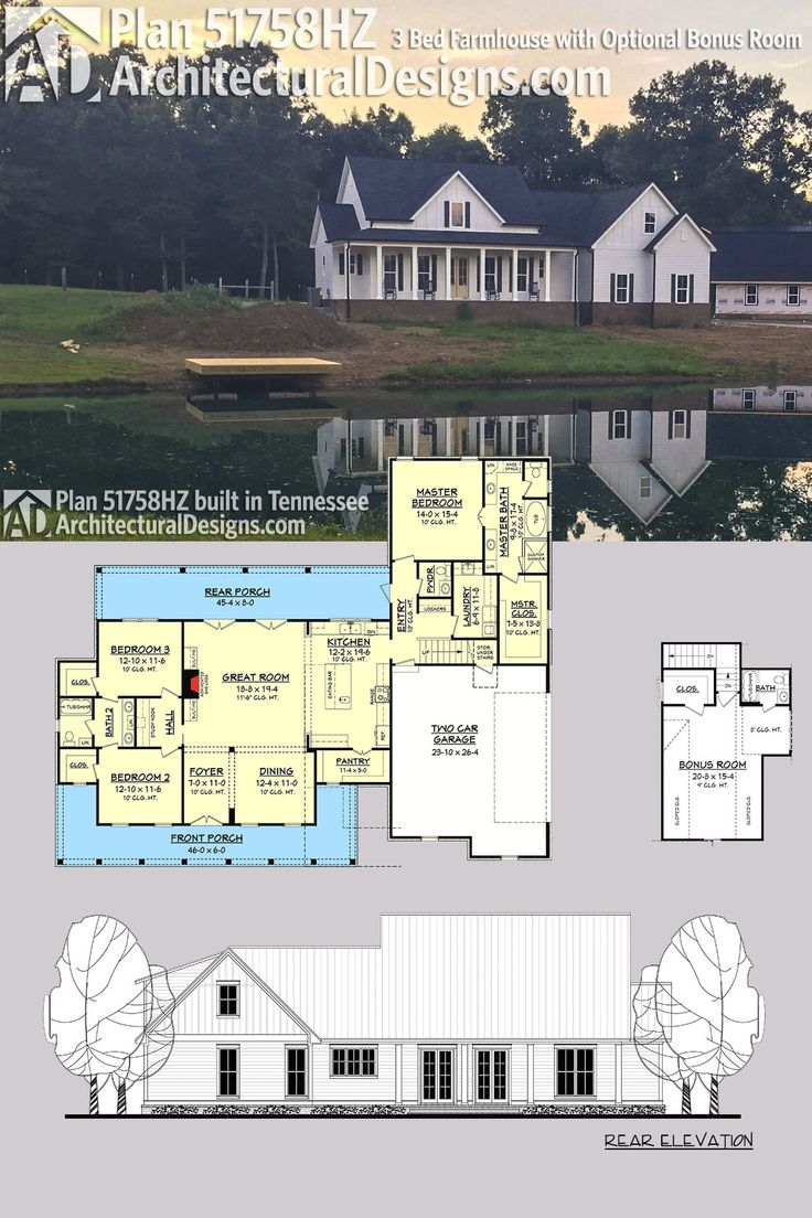 Architectural Designs Farmhouse Plan 51758HZ - shown built by a client in Tennessee - gives you 3 beds and 2.5 baths and over 2,200 square feet of heated living space PLUS a bonus room over the garage with a full bath. Ready when you are. Where do YOU want to build?