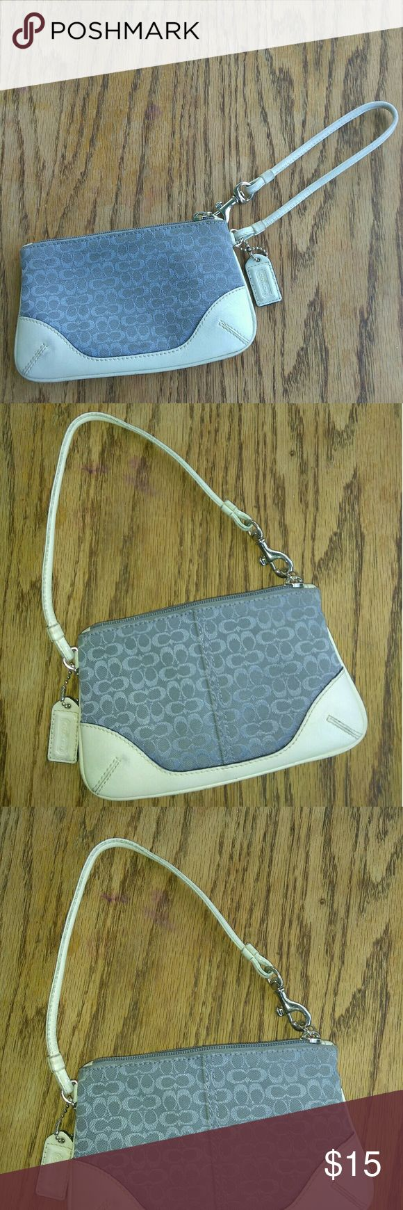 """Coach wristlet blue and white Coach wristlet blue and white Height 4"""" Length 6.5 Coach Bags Clutches & Wristlets"""