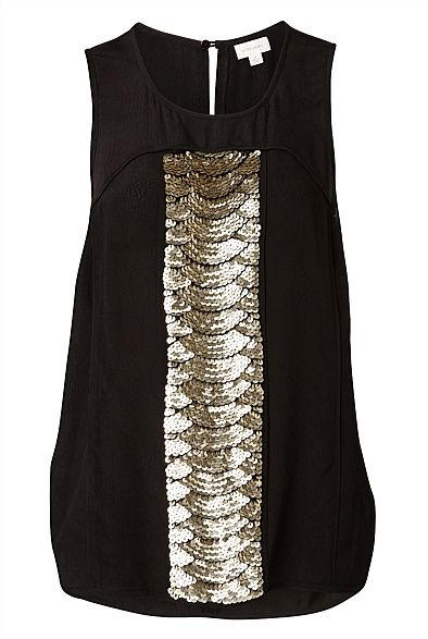Embellished Tank, can't resist the black and gold combo! $149.95 from @WITCHERY Fashion #witcherywishlist