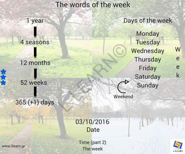 Time (part 2). The week.  #Αγγλικά #αγγλικές #λέξεις #αγγλική #γλώσσα #λεξιλόγιο #English #english #words #english #language #vocabulary #LLEARN