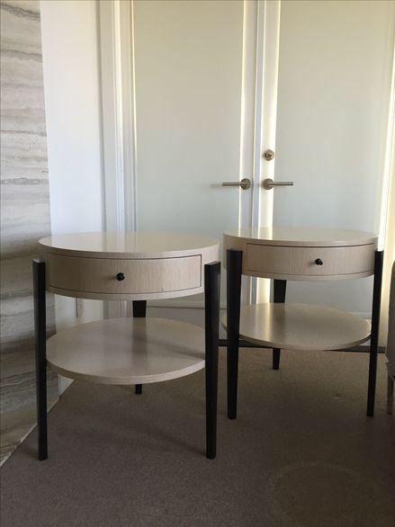 Ash & Wenge Round Nightstands - Pair on Chairish.com …