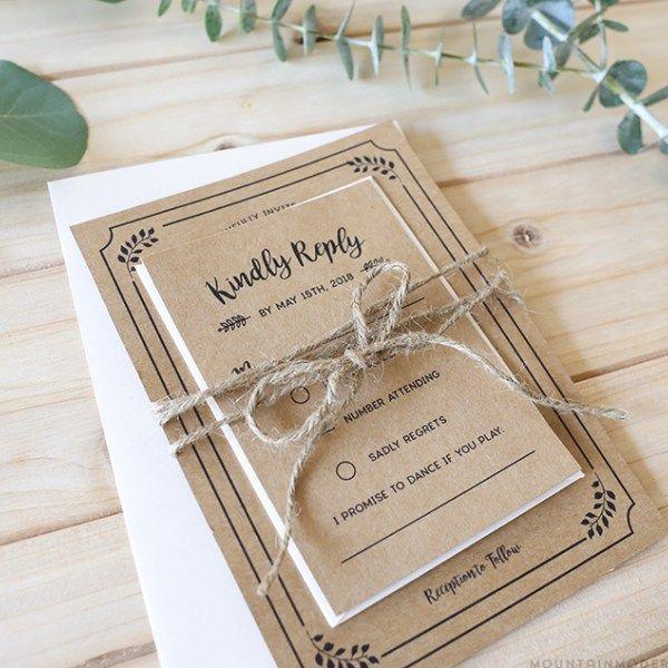 Printable Rustic Wedding Invitation Set Reception