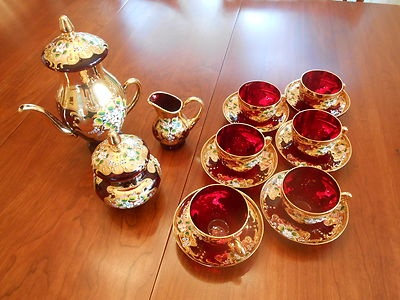 Italian Venetian Gold Gild Ruby Red Tea Set Murano | eBay