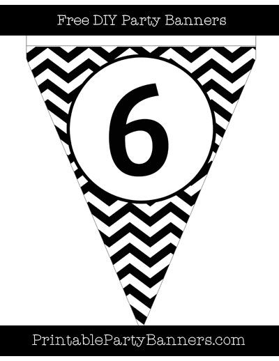 Black and White Pennant Chevron Number 6
