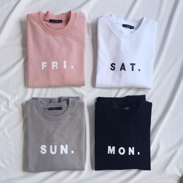Women Men Fashion Clothing Friday Saturday Sunday Monday FRI SAT SUN MON  Tops Crewneck Sweatshirts Sweats Jumper Outfits