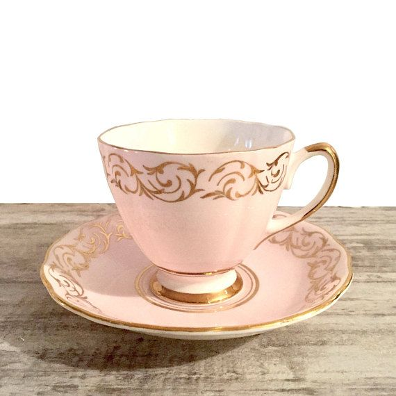 Vintage Colclough Tea Cup And Saucer Sweet Pink And Gold Scroll