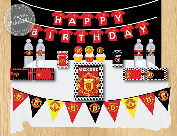 Manchester United Birthday Party Package Soccer Birthday Party Thank you tag, water bottle label, food card, toppers, banner by shoptheprintable on Etsy