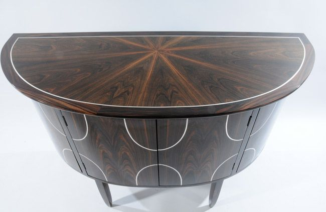One of a pair of Console Tables. Macassar ebony with silver inlay. #bespoke #furniture #consoletable #interiordesign #luxury