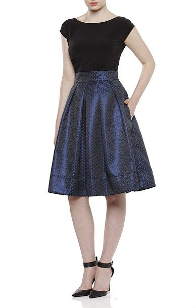 Cocktail - MUSEUM ISLAND FITTED WAIST TEXTURED KNEE LENGTH SKIRT IN BLACK BLUE SPOT PRINT