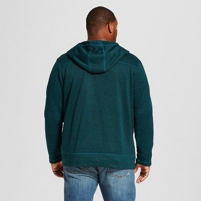 Men's Big & Tall Sweater Fleece Hoodie Teal (Blue) Xxl Tall - Merona, Size: Xlt