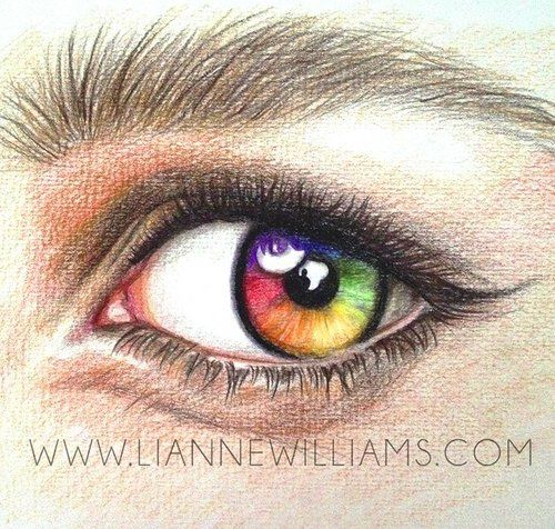 Rainbow Eye Drawing In Polychromos Colour Pencil Art By Lianne Williams