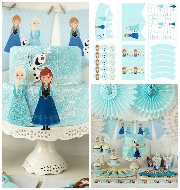 Frozen Birthday Party + Printables via Kara's Party Ideas