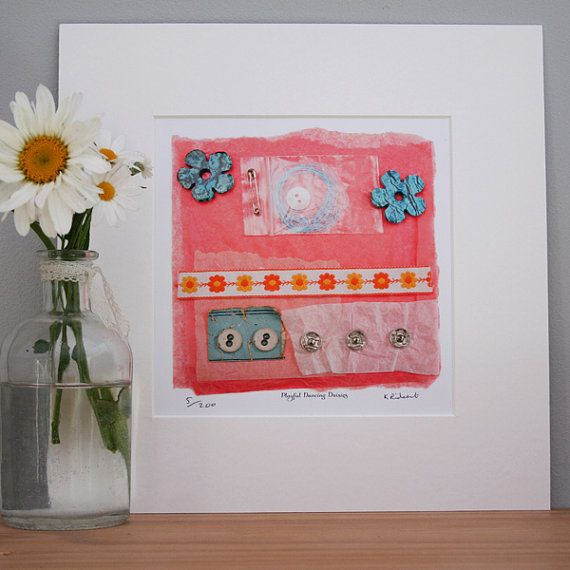 Playful Daises Limited Edition Print of by MollyMargaretDesigns