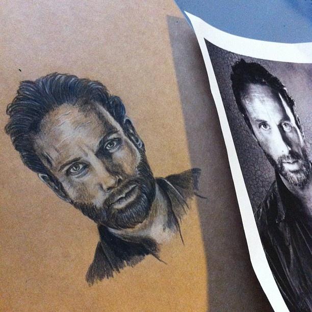 The Walking Dead. Three down!!!  #art #portrait #portraiture #twd #thewalkingdead #zombies #pencil #andrewlincoln #rickgrimes