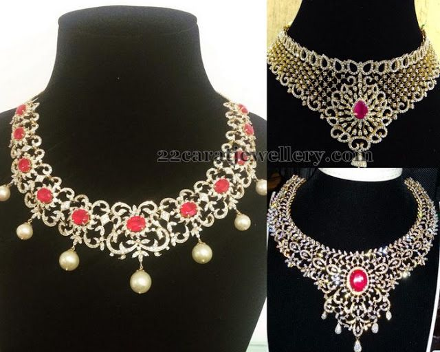 Left: Rubies adorned diamond designer choker with 18 carat gold, pearls hanging. Right:Heavy diamond bridal choker with rose cut diamonds all over, Very large round cabochon ruby highlighted on the center of the necklace.Classic Heavy Diamond Sets with Rubies | Jewellery Designs