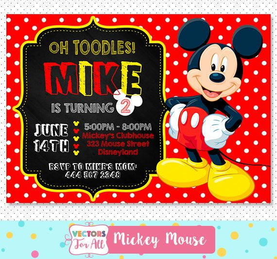 #Disney #MickeyMouse #Invitation, Oh #Toodles #Mickey #Mouse #Party, #MickeyInvitations #Mickey #Invite, #BoysBirthday #Party #DigitalFile #Printable by VectorsForAll on #Etsy