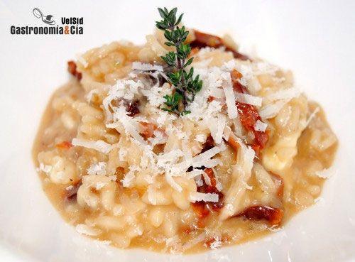 Risotto de mozzarella y tomates secos