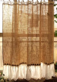 Simply shabby, beach,cottage chic,French country theme to one shower curtain. Its made of Natural tan Burlap with white embroidered eyelet