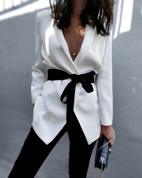 White Silk Blazer With Waist-Tie