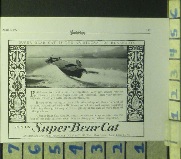 1927 BELLE ISLE BEAR CAT RUNABOUT BOAT NAUTICAL SPEED WATERCRAFT   BD20 #Vintage