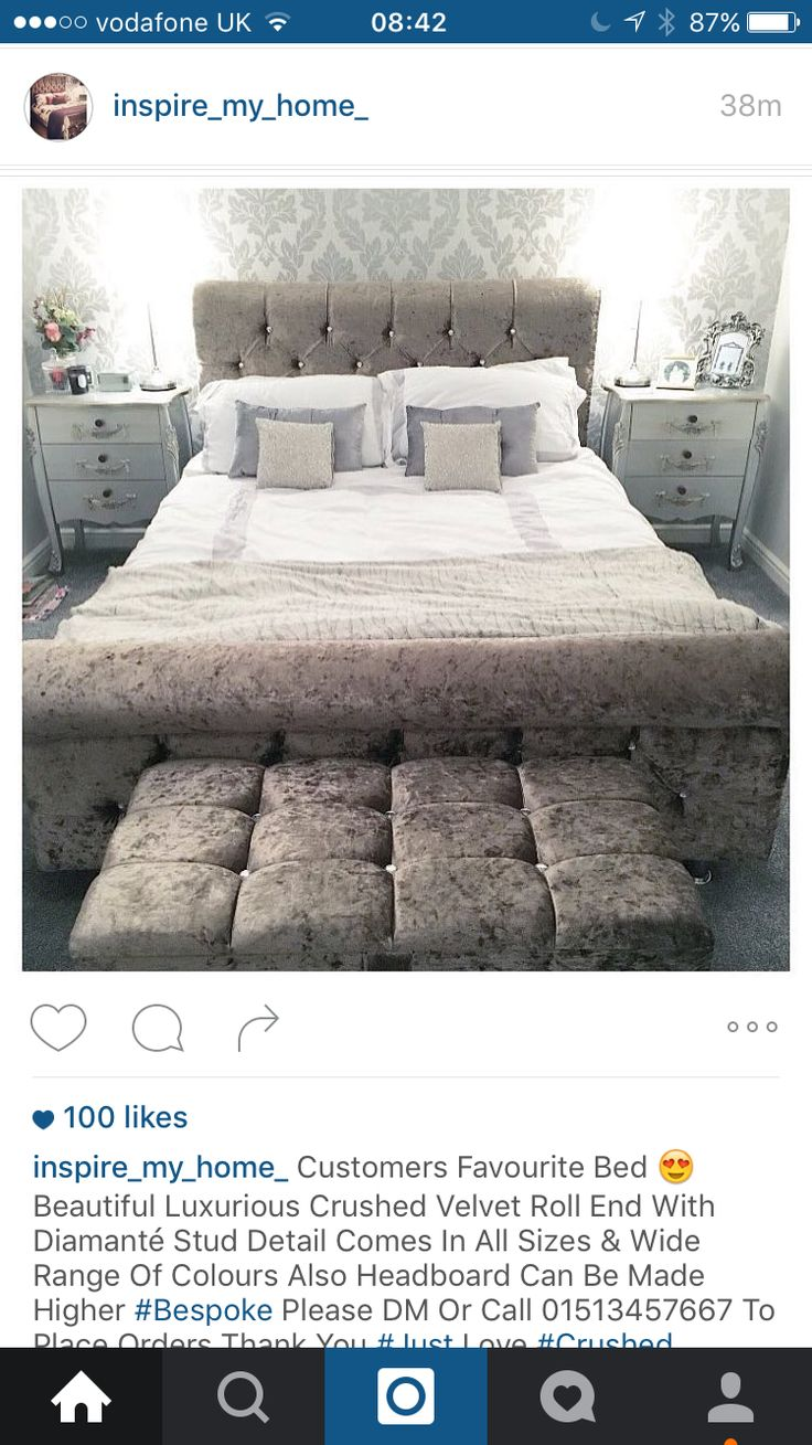 Crushed velvet roll end bed with diamanté stud detail/silver bedroom - inspire_my_home