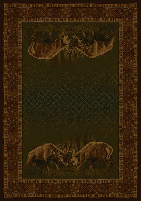 Buckwear Winner Takes All Lodge Green and Brown Novelty Rug