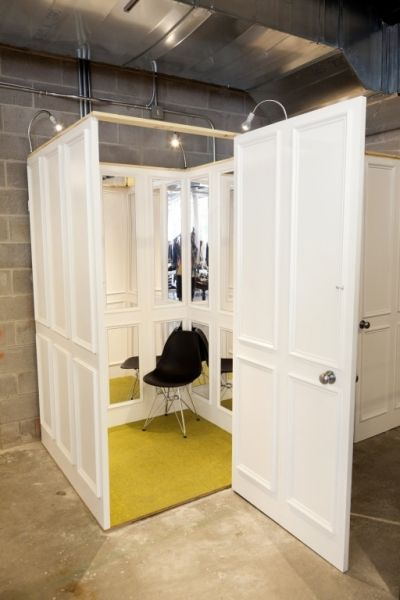 a cool dressing room made of doors #retaildetails