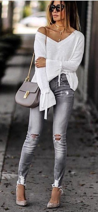 #fall #outfits women's white v-neck long-sleeved top with gray distressed jeans