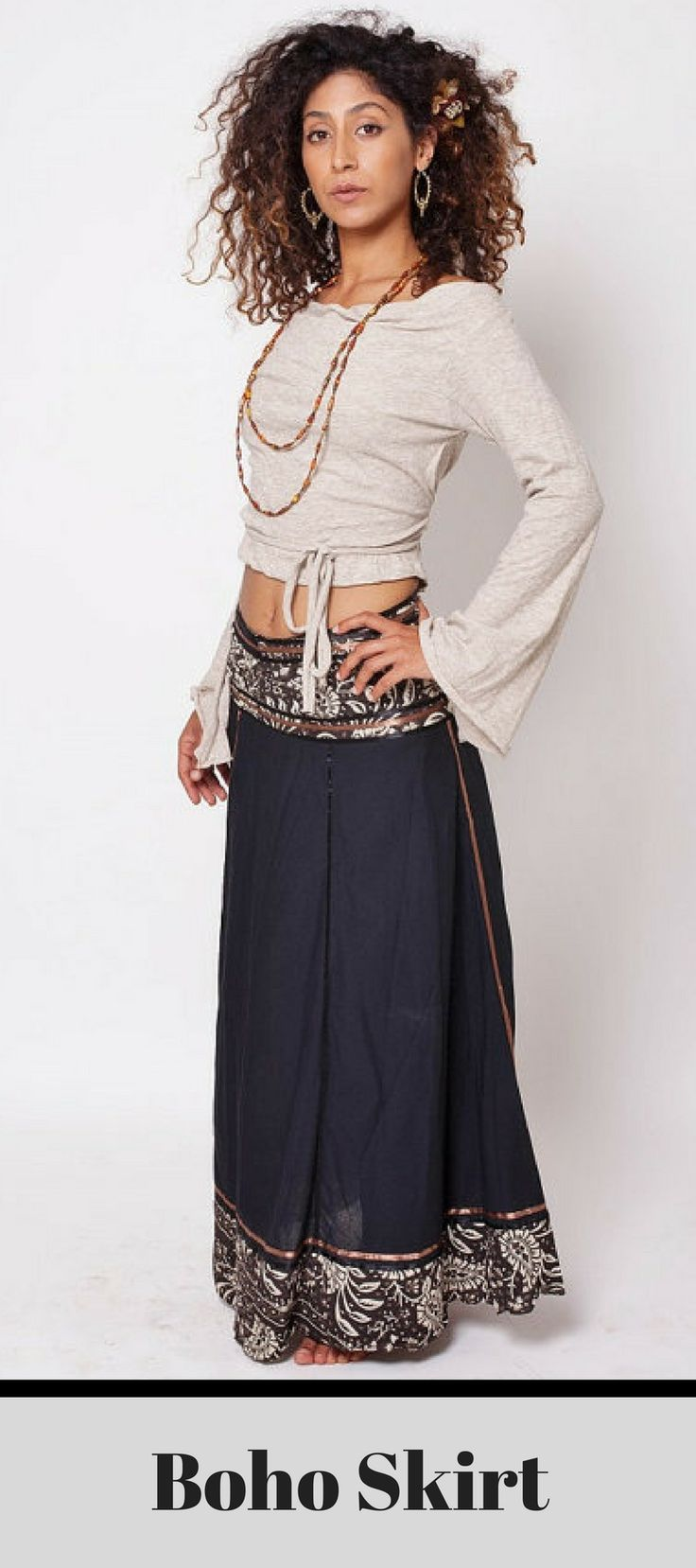 Beautiful Boho Skirt! Big and impressive wrap shell long skirt made out of cotton and silk stripes with oriental patterns on the belt and at the bottom. #boho  #momstyle #summer #musthave #ad