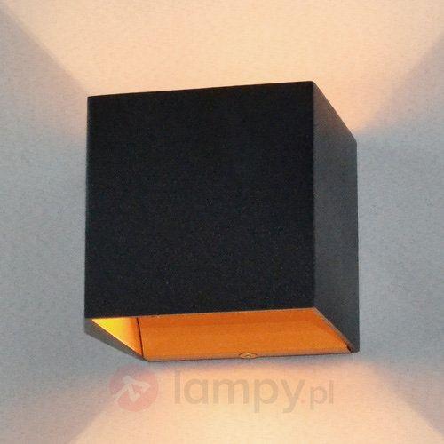 Czarna lampa ścienna LED Aldrina, złote wnętrze 9620716