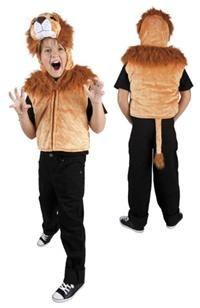 Aslan Başlı Kostüm, Peluş Yelek 5-7 Yaş Parti Kostümleri - Unisex Çocuk Parti Kostümleri