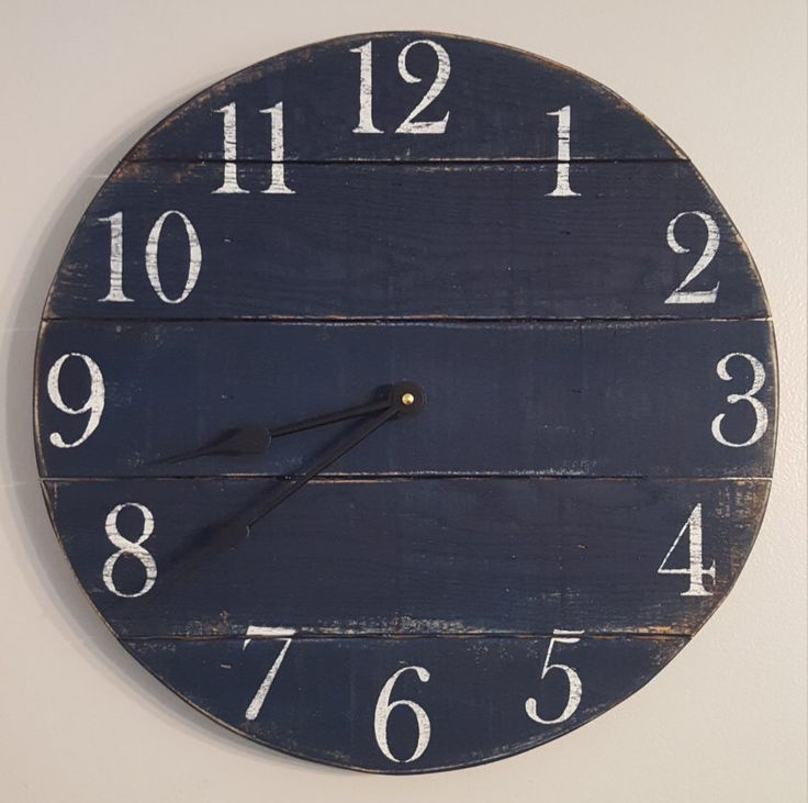 Navy blue Clock- Farmhouse Clock- Reclaimed Wood Clock- Small Wood clock- Wall Clock- Rustic Clock - Number Clock- Pallet Clock- Round Clock by Shabs2RichesVintage on Etsy https://www.etsy.com/listing/475936191/navy-blue-clock-farmhouse-clock