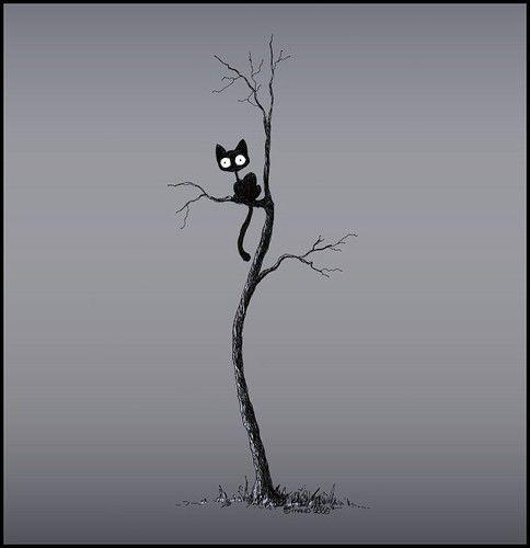 Resultado de imagen de dibujo arbol con gatitos