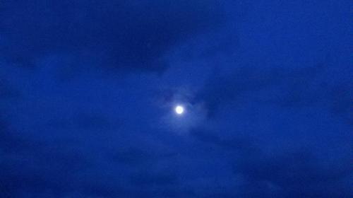 sky, blue, moon, light, moonlight, clouds, night, landscape, beauty, romantic, full moon,