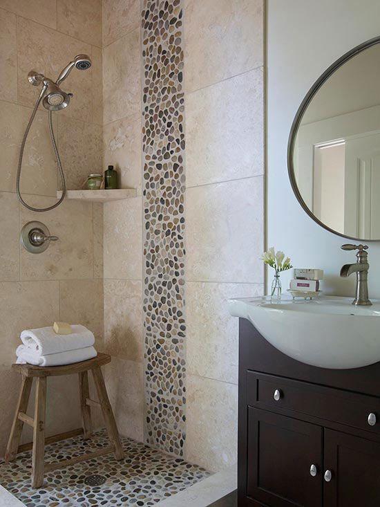 25 best ideas about pebble tile shower on pinterest for River rock bathroom ideas
