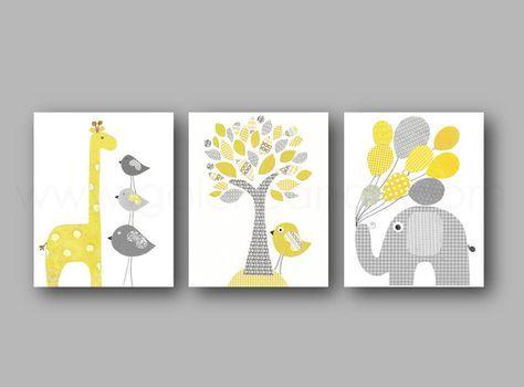 lot de 3 illustrations pour chambre denfant et bebe jaune et gris elephant ballon - Chambre Jaune Et Gris Bebe