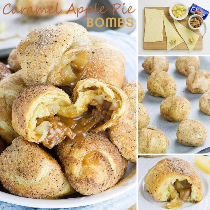 Ingredients  8 oz. can of refrigerated crescent rolls (8 crescents)  8 unwrapped caramel candies (one for each crescent)  8 Tbsp.chopped apples from apple pie filling (1 Tbsp. for each crescent)  Cinnamon sugar mixture      Instructions       Preheat the oven to 350 F,