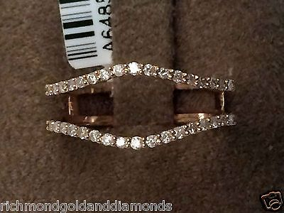 Rose Gold Solitaire Enhancer 0.25c Diamonds Ring Guard Jacket Wrap Wedding Band