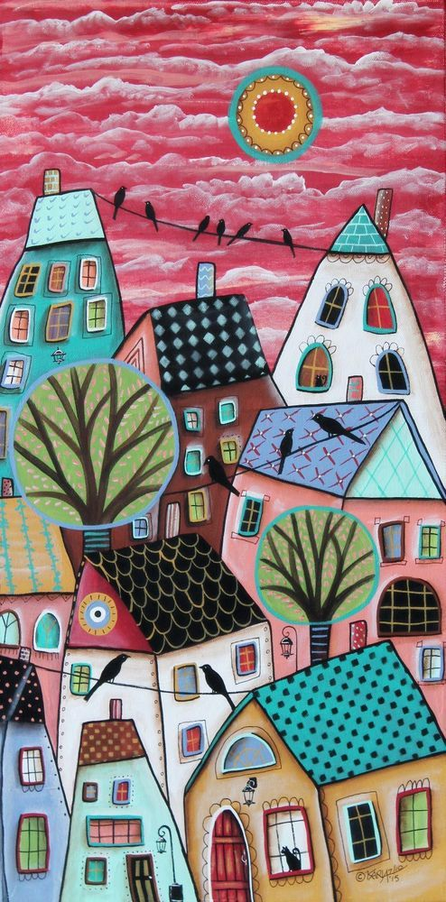 Patterned Roofs ORIGINAL CANVAS PAINTING 12x24 inch FOLK ART Abstract Karla G #FolkArtAbstractPrimitive