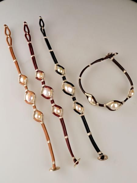 Stylish yet simple, fresh and flirty, the At Ease pearl, leather and sterling silver bracelet leave playful thoughts in your mind. Genuine leather hugs three be