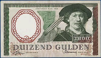 Nederlands geld uit de jaren 50 tot 70  1000 guldenbiljet voorkant