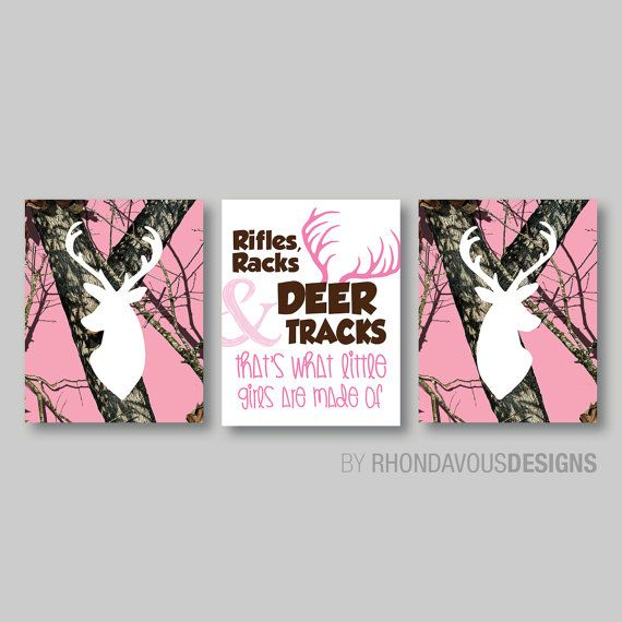 Pink Camo Deer Head Print Trio Tree Camouflage Antlers Buck