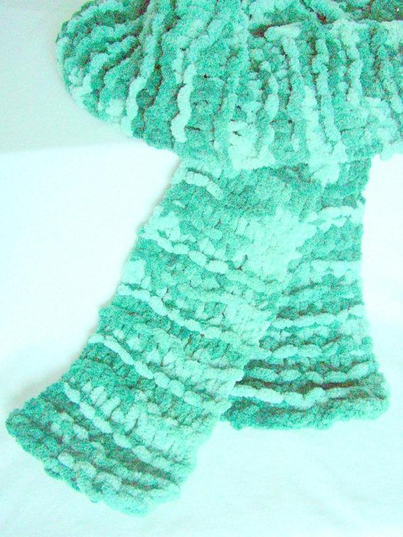 Hand Knit Winter Scarf Spearmint Green Fuzzy by KrystalzKreations, $12.00