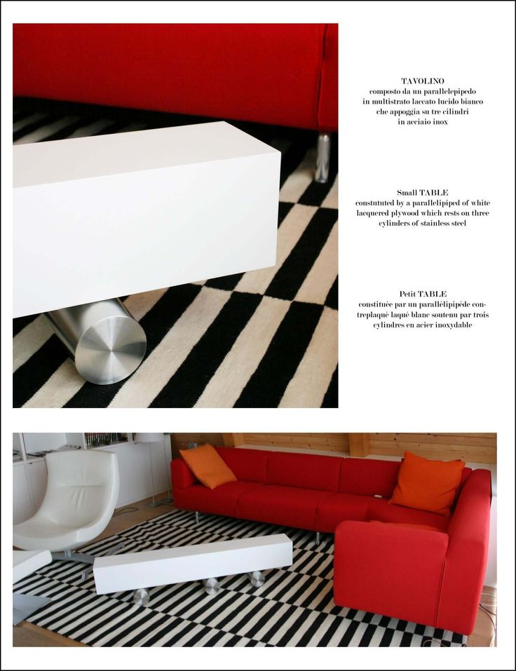 Coffee Table Domino Constituted by a parallelepiped of white lacquered plywood which rests on 3 cylinders of stainless steel.