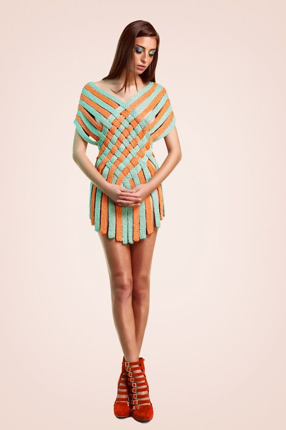 Helen Rodel MMXII Lookbook - tunic dress composed of interwoven knitted straps - inspo