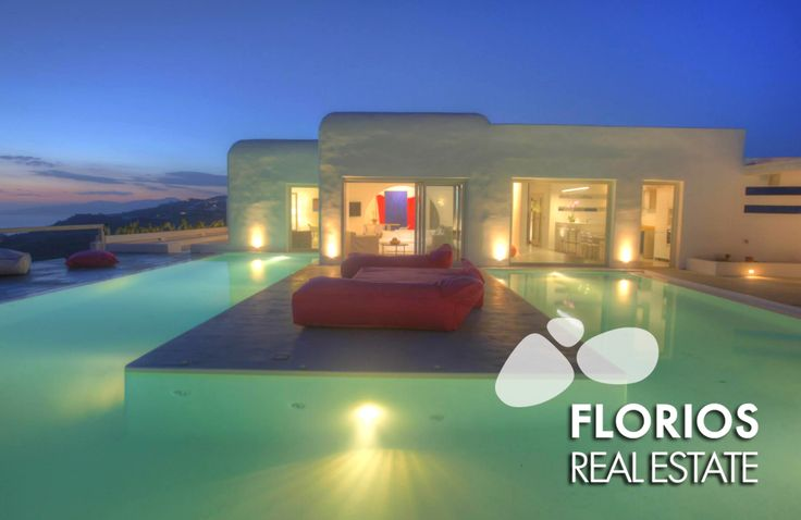 The villa is in a unique location on the island protected from the summer winds, offering guests a stunning panoramic view of the sunset, the Aegean Sea and Mykonos Town. FMV1174 Villa for Sale on Mykonos island Greece. http://www.florios.gr/en/Villas-For-Sale-Mykonos-Island-Greece.html