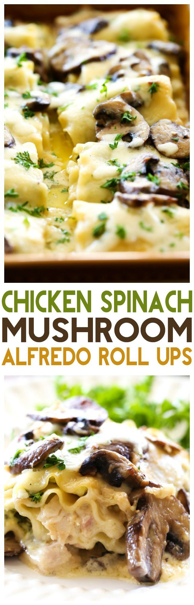 Chicken Spinach Mushroom Alfredo Roll Ups... These. Are. INCREDIBLE! Seriously one of THE BEST dinners I have ever had!