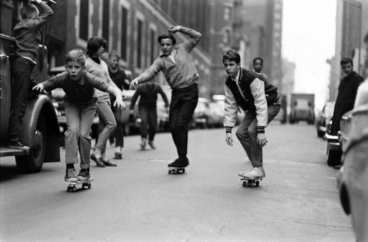 Photojournalist Bill Eppridge captures skateboarding's humble beginnings in the urban setting of New York City. While the concept of the sport and makeshift models of the skateboard were introduced sometime in the 40s or 50s, it was in the mid-1960s that skateboarding truly flourished and Eppridge was there to catch it in all its glory for a lifestyle spread in LIFE Magazine.