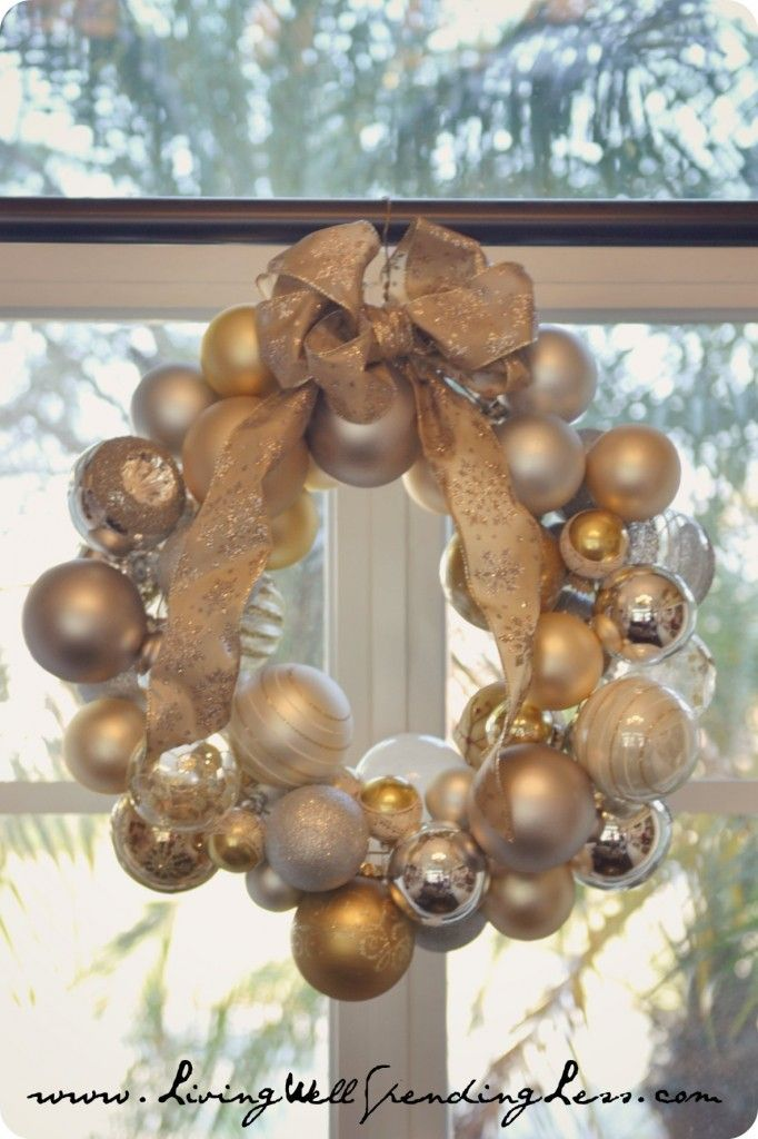 DiY Ornament Wreath--easy and fun to do with kids (just takes a LOT of ornaments)